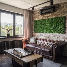 коричневый диван в гостиной фото декора