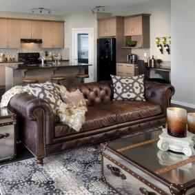 коричневый диван в гостиной интерьер идеи
