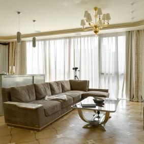 коричневый диван в гостиной идеи интерьер