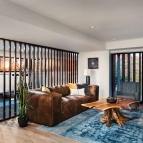 коричневый диван в гостиной идеи интерьера