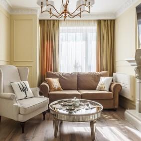 коричневый диван в гостиной оформление