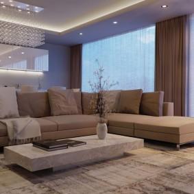 коричневый диван в гостиной идеи