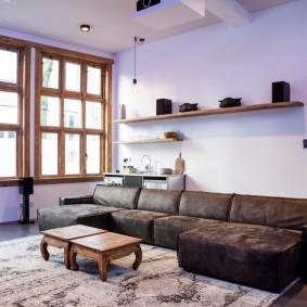 коричневый диван в гостиной идеи оформления