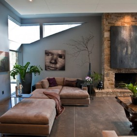 коричневый диван в гостиной фото варианты