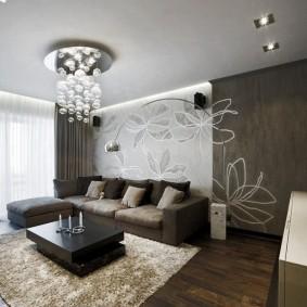 коричневый диван в гостиной виды
