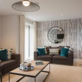 коричневый диван в гостиной фото видов