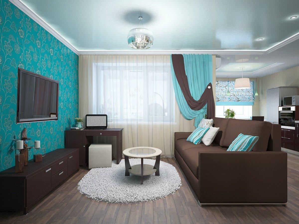 коричневый диван в гостиной дизайн фото
