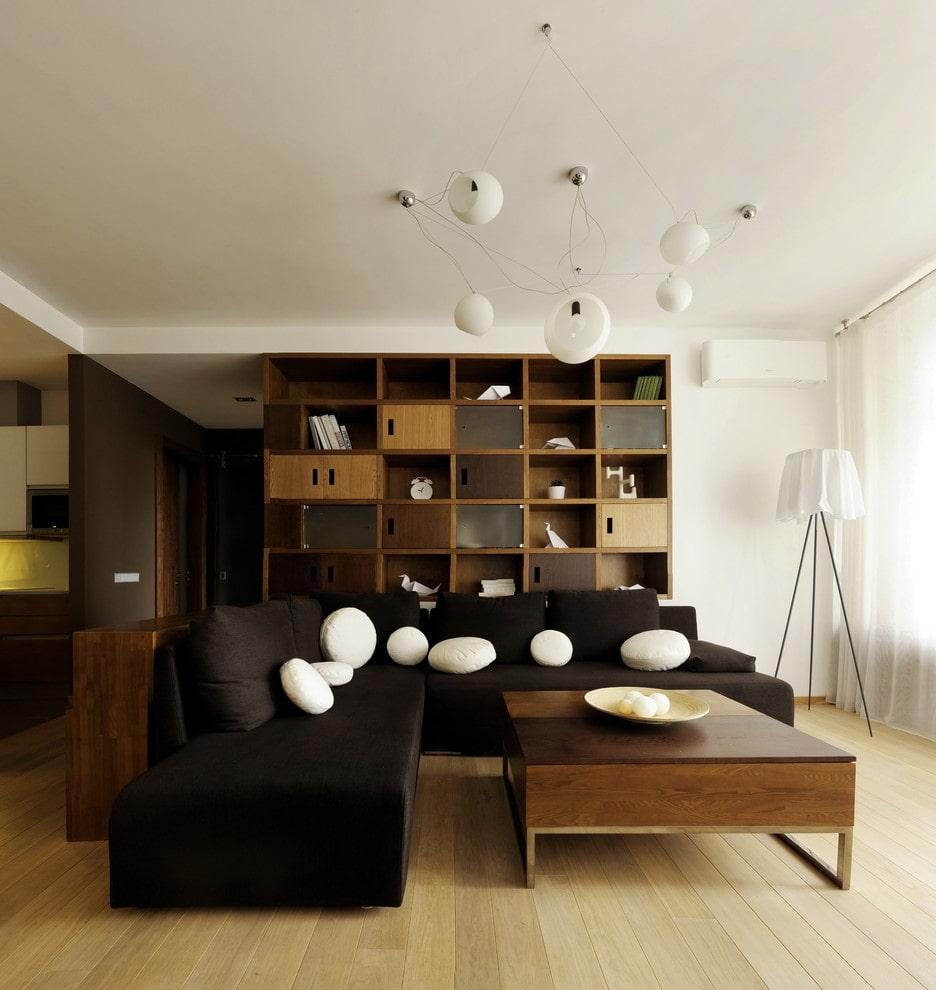 коричневый диван в гостиной угловой