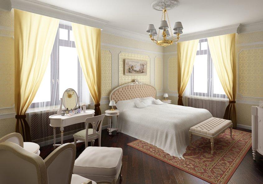 Светлые шторы в спальне с двумя окнами