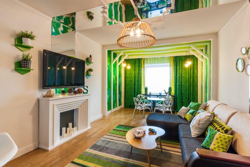 красивый дизайн комнаты в эко стиле