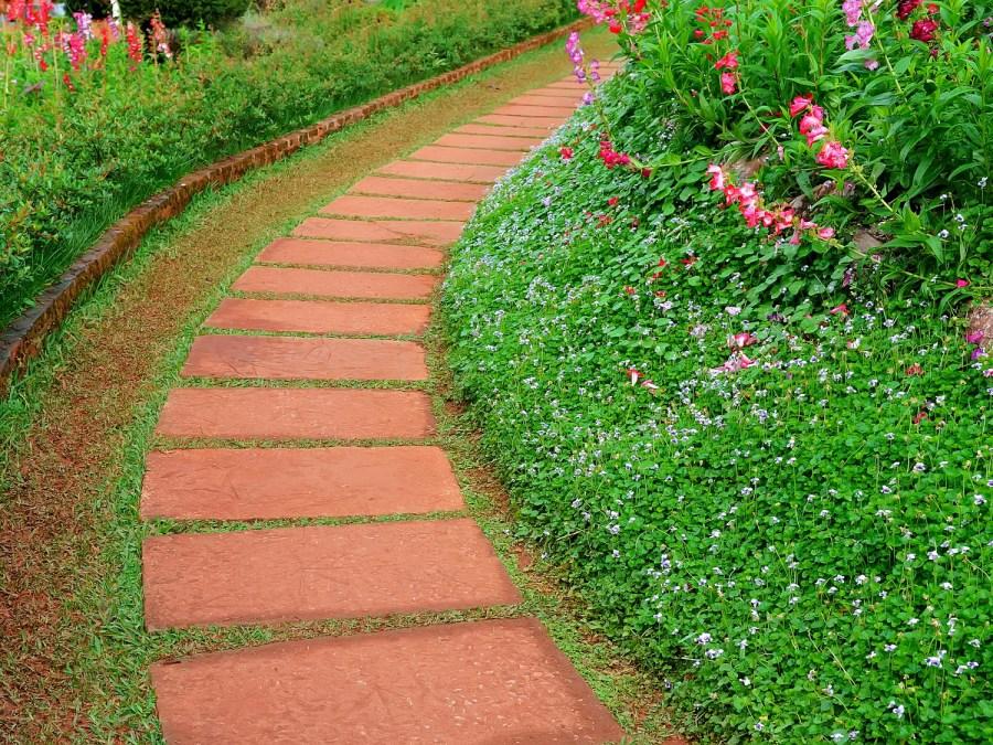 Красная тропинка из прямоугольных бетонных плиток