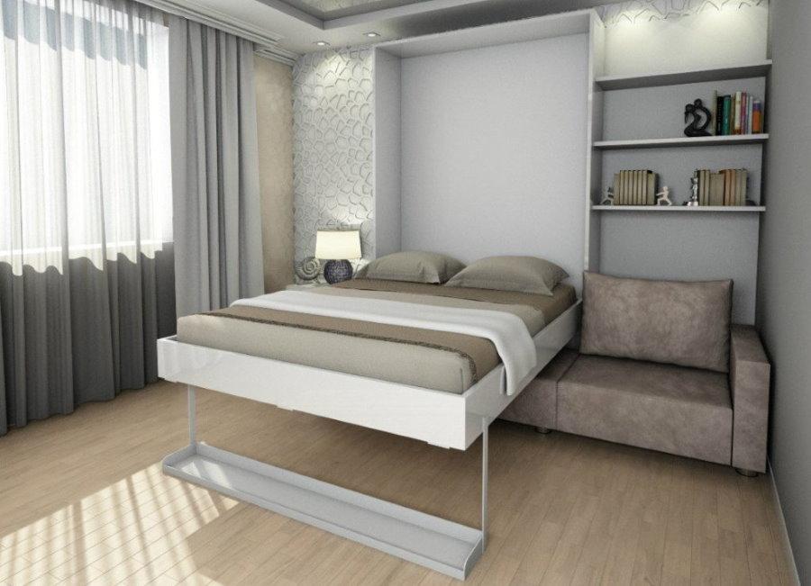 Откидная кровать над диваном в квадратной спальне-гостиной