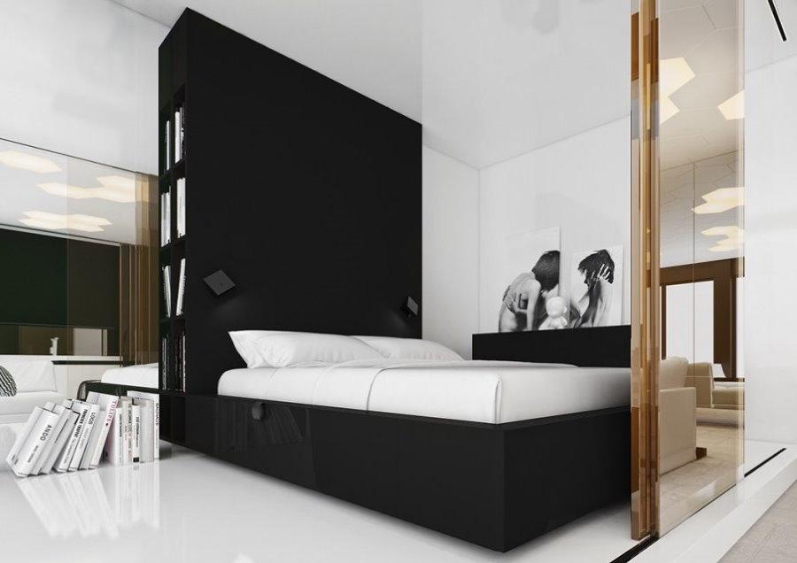 Сдвижная перегородка в спальне-гостиной стиля модерн