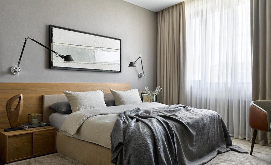 Декорирование стены над кроватью в стиле контемпорари