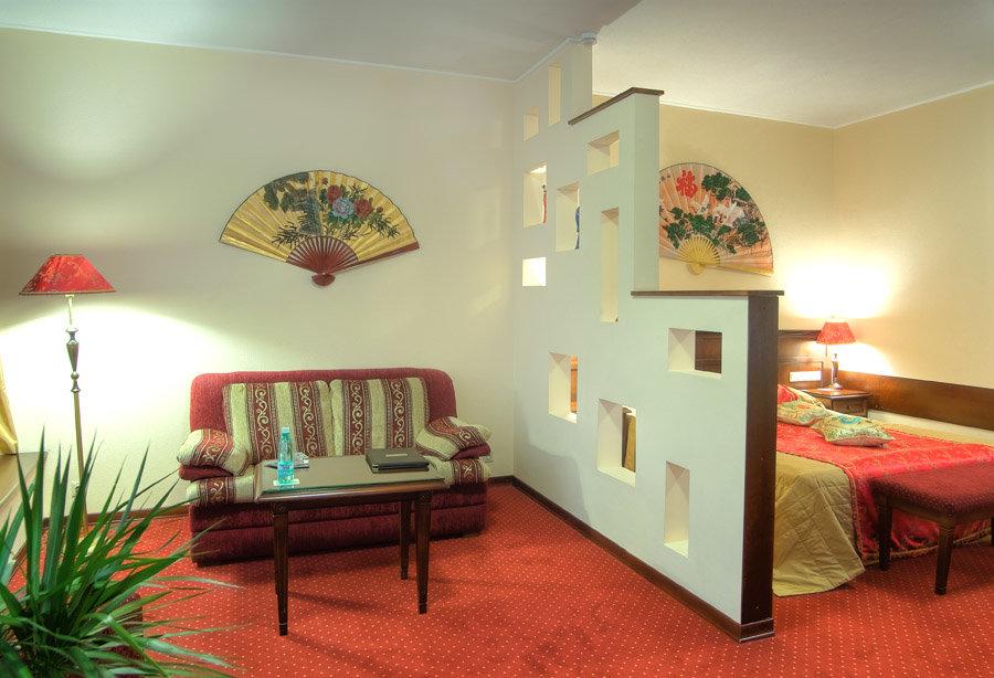 Перегородка со ступеньками в спальне-гостиной