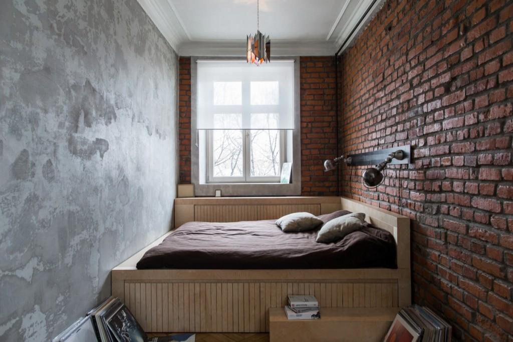 Узкая спальная комната в индустриальном стиле