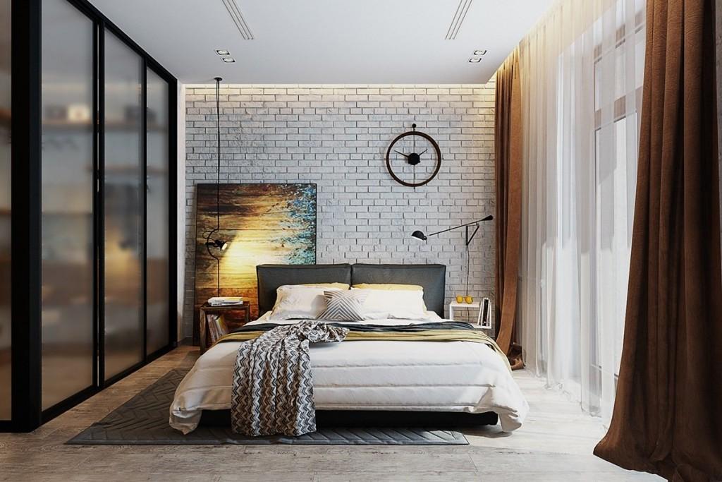 Шкаф-купе в спальне с коричневыми занавесками