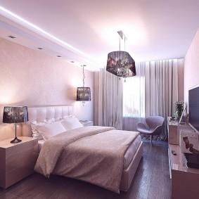 люстра под натяжной потолок в спальне идеи дизайна