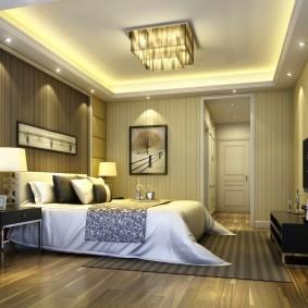 люстра под натяжной потолок в спальне идеи декора