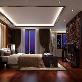люстра под натяжной потолок в спальне фото интерьер