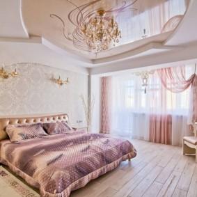 люстра под натяжной потолок в спальне идеи интерьер