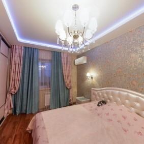 люстра под натяжной потолок в спальне фото идеи