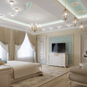люстра под натяжной потолок в спальне дизайн фото