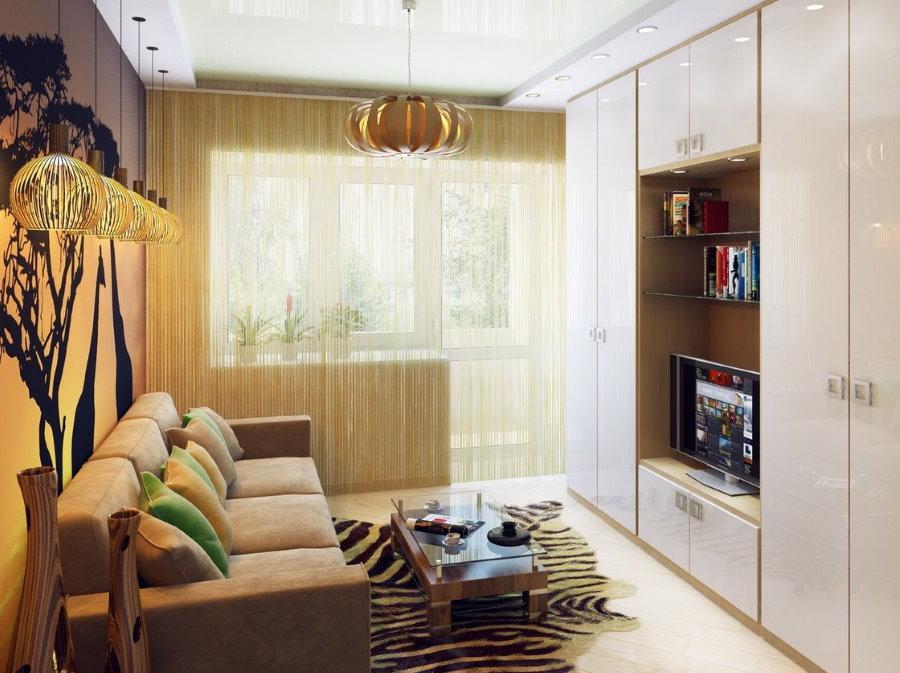 Встроенная стенка в гостиной небольшого размера