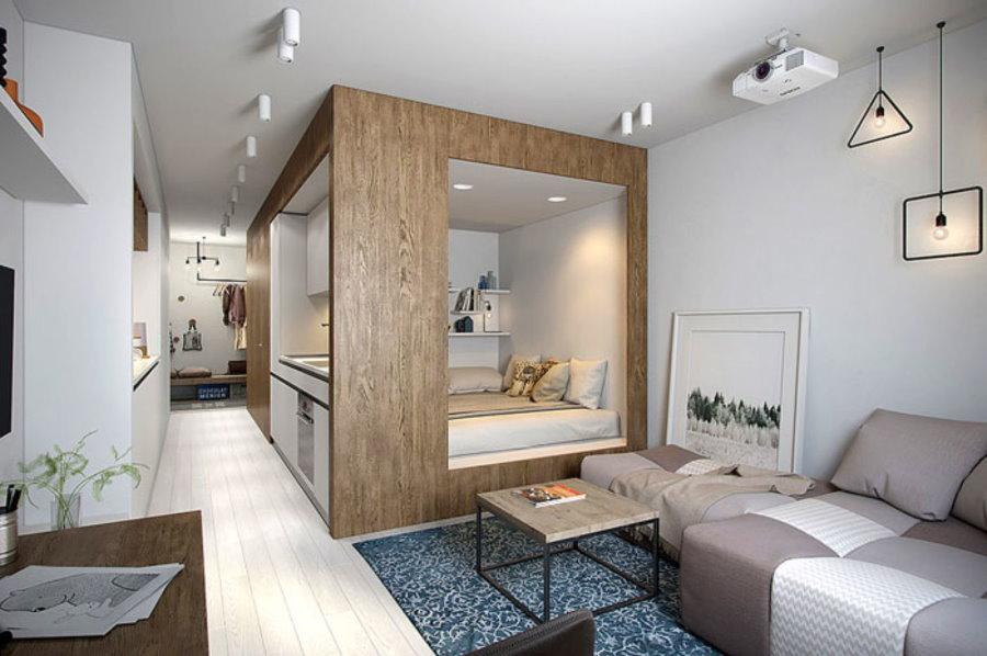 Встроенное спальное место в однокомнатной квартире