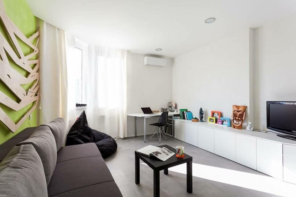 Пример меблировки 1 комнатной квартиры в стиле минимализма