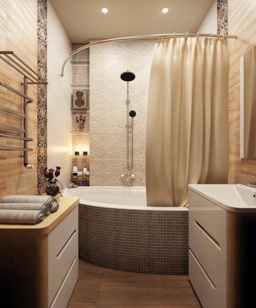 Ванная комната со шторкой на металлическом карнизе