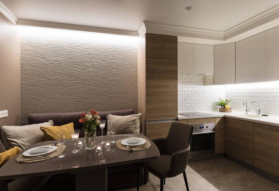 Современная кухня-гостиная площадью 14 кв метров