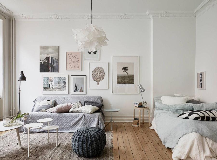 Белые стены в спальне-гостиной площадью 15 квадратов