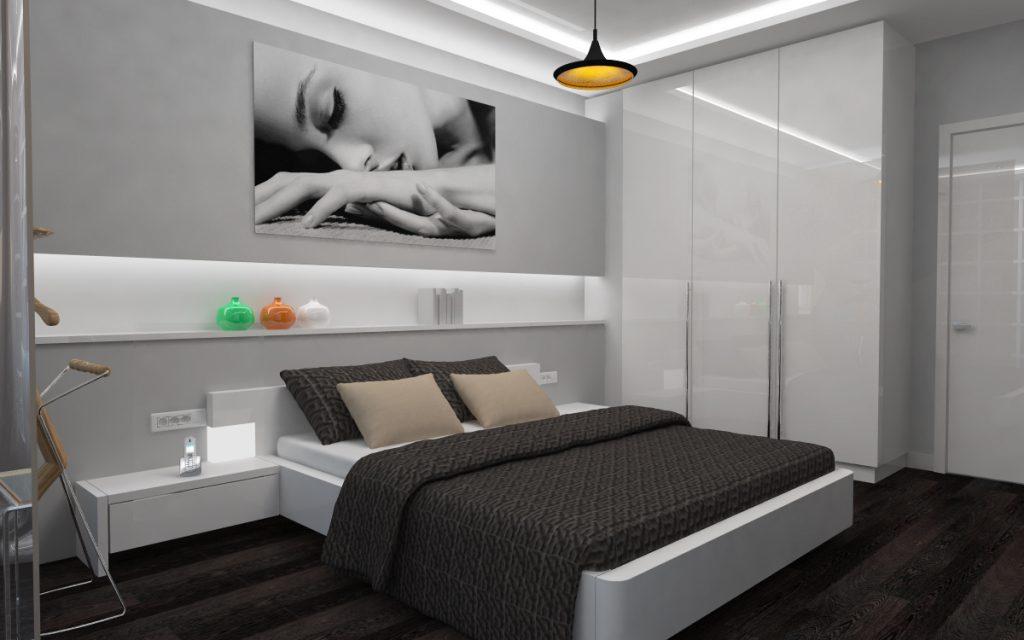 Полка с подсветкой в спальне стиля хай-тек