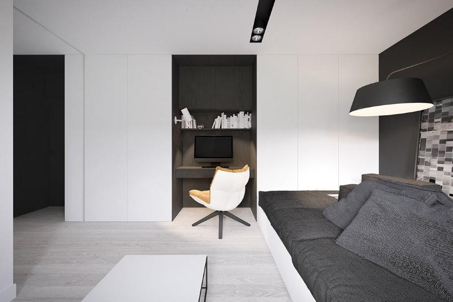 Мини-кабинет в нише квартиры стиля минимализма