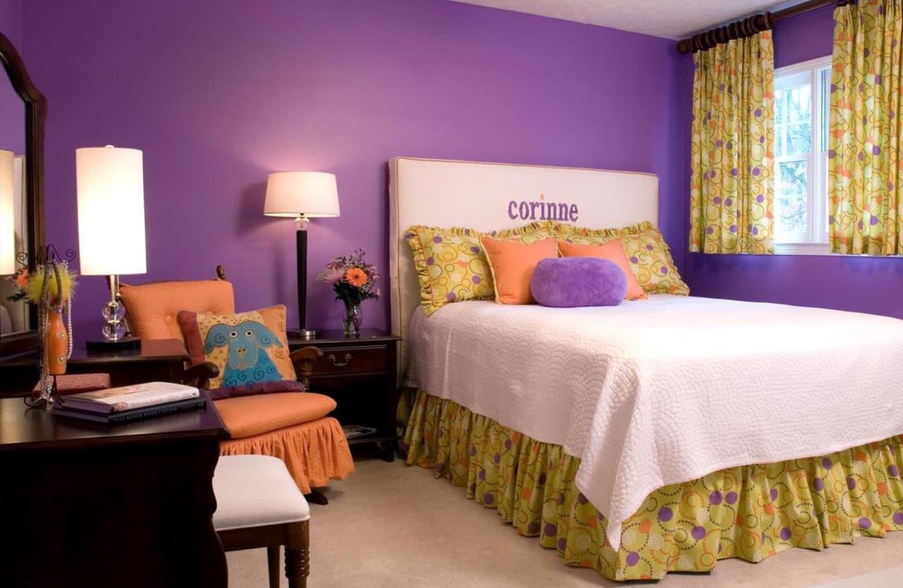 обои для спальни фиолетовые