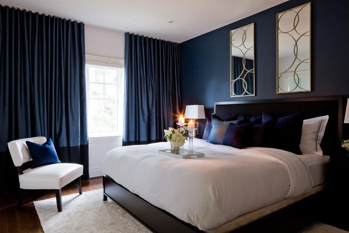 обои для спальни синие