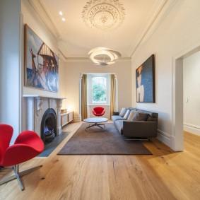 обустройство прямоугольной комнаты декор