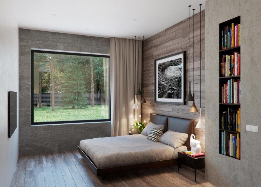Серые оттенки в интерьере спальной комнаты
