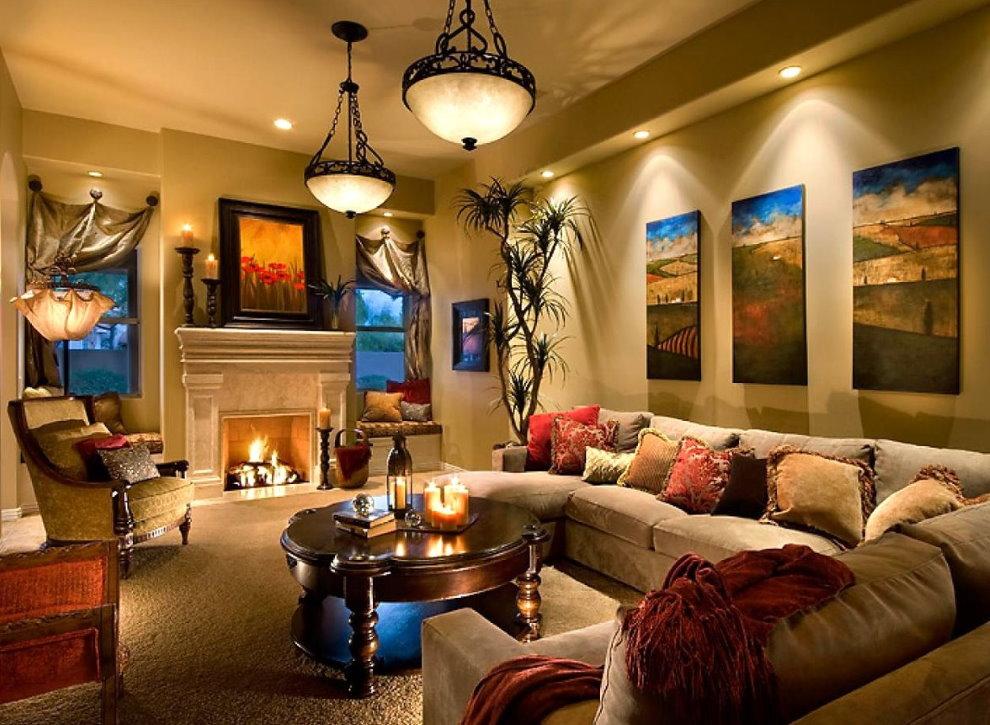 Освещение гостиной с картинами на акцентной стене