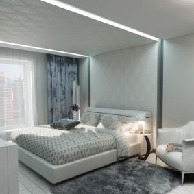 освещение спальни с натяжным потолком фото декора
