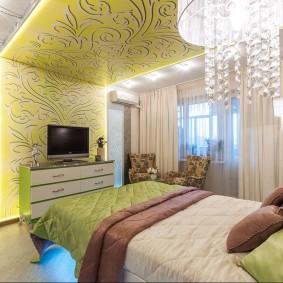 освещение спальни с натяжным потолком декор идеи