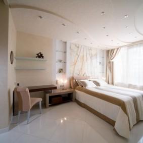 освещение спальни с натяжным потолком интерьер