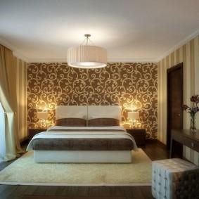 освещение спальни с натяжным потолком интерьер фото