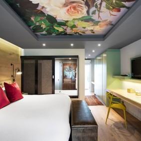 освещение спальни с натяжным потолком фото интерьер