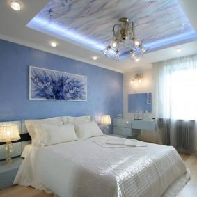 освещение спальни с натяжным потолком фото интерьера