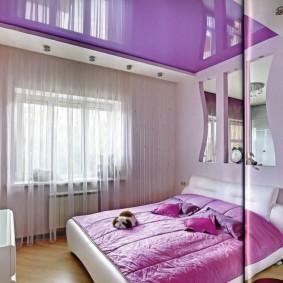 освещение спальни с натяжным потолком фото видов