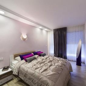 освещение спальни с натяжным потолком идеи виды