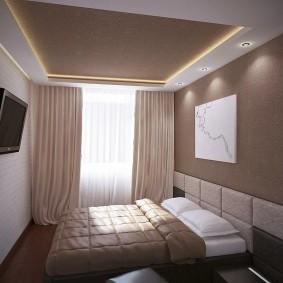 освещение спальни с натяжным потолком дизайн фото