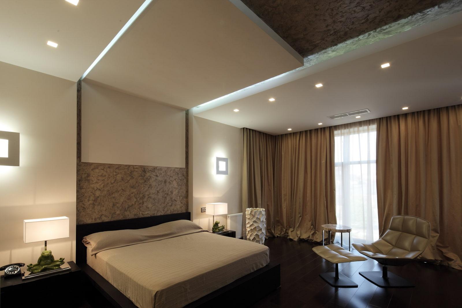освещение в спальне оформление фото